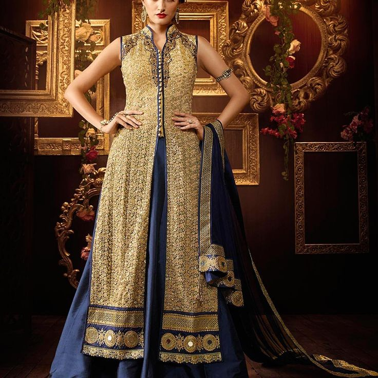 Khadi Silk Blue Golden Long Choli Lehenga Anarkali Suit » Shoppers99 #khadi #silk‬ #anarkalidress #anarkalisuit #pink #blue‬ #partywear #partydress‬ #eid #lehengasuit #lehenga #anarkalilehenga