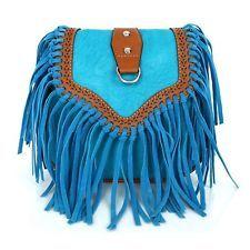 Hippie Boho Handtasche Clutch in blau mit Fransen Tasche Damen bag