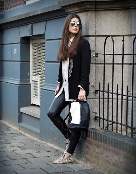 Maruti Footwear, Zara Leather Legging / Jacket, Primark Bag