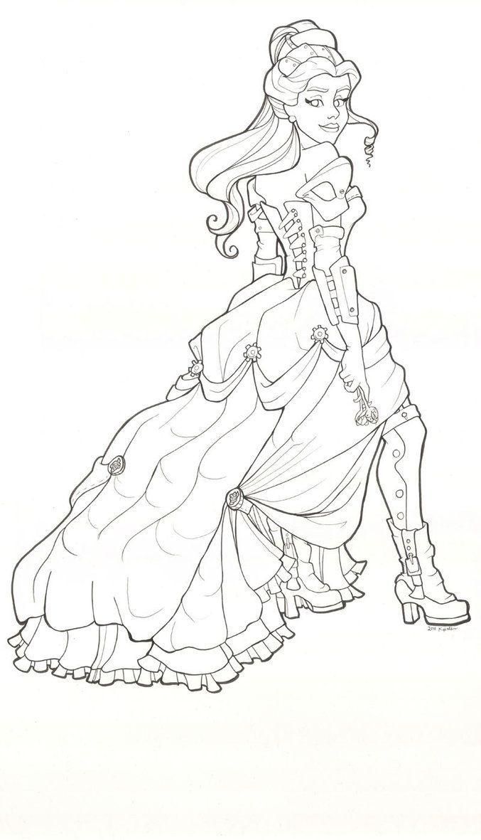 La Belle et la Bête de Disney  Steampunk coloring, Belle coloring
