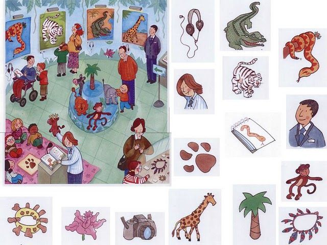 Students are meant to find the items in the picture, but you could also use the individual pictures to introduce vocabulary, then have students use those words to describe what's in the picture.