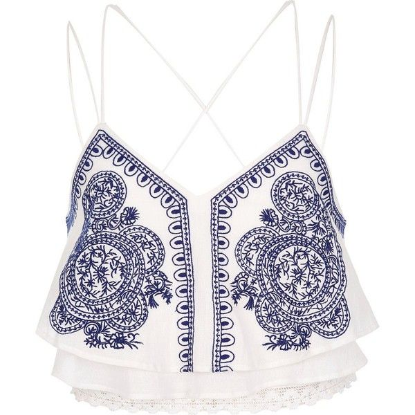 River Island Cream embroidered cropped cami (€33) ❤ liked on Polyvore featuring tops, crop top, shirts, crops, cream, crop tops / bralets, women, cami crop top, lace tops and lace cami top
