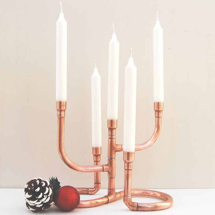 Are you interested in our Copper Pipe Candelabra? With our Copper 5 candle stick holder you need look no further.