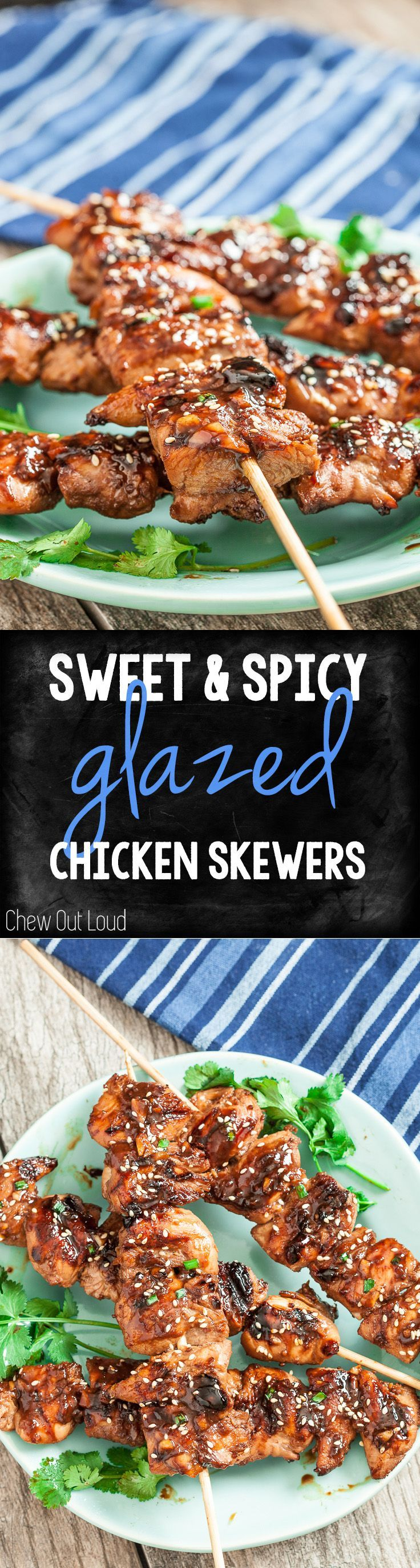 Sweet & Spicy Glazed Chicken Skewers. So easy and can be prepped the night before. A favorite at all the cookouts.