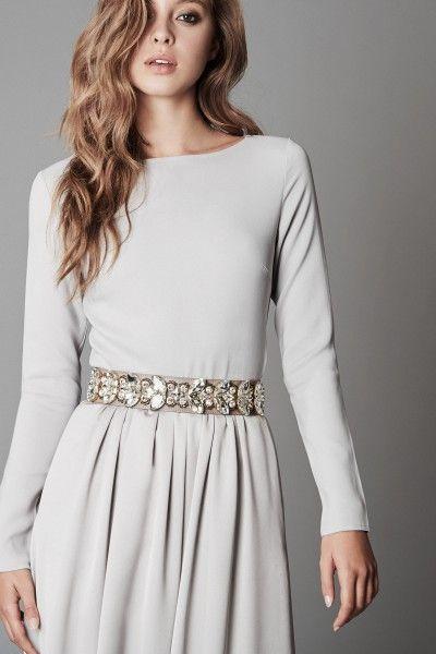 langärmliges Abendkleid - winter wedding dress - grey long dress - crystal belt - evening gown - mix & match