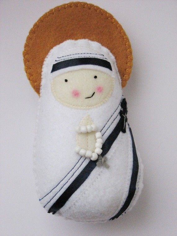 Want!...Mother Teresa felt softie from Etsy shop, Saintly Silver. This lady makes all the cutest Saint dolls, and you can custom order whoever you need!