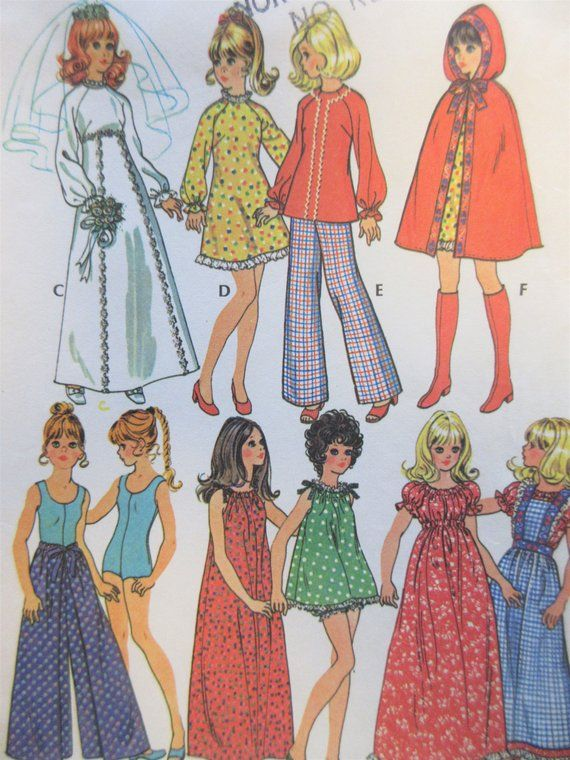Vintage McCall\'s 3429 Sewing Pattern, Barbie Clothes, 1970s Doll ...