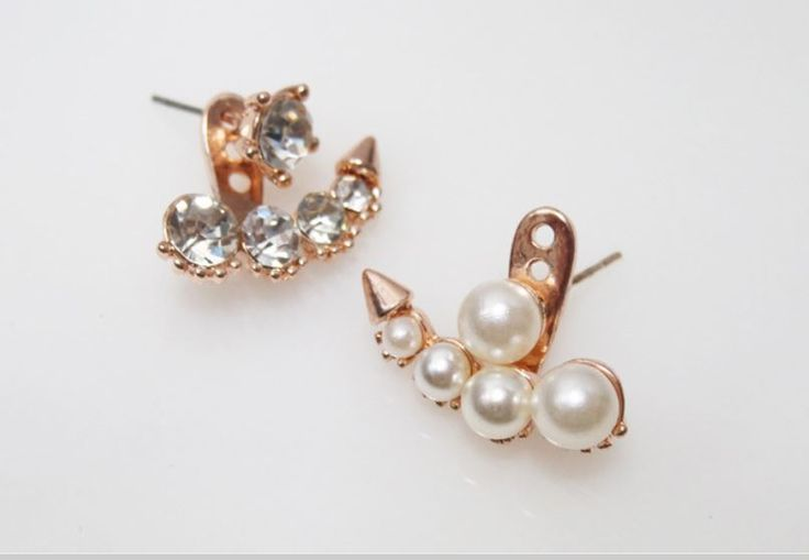 Pearl and Cubic Earings Rose Gold Color 1pair #Unbranded #DoubleSidedJacket