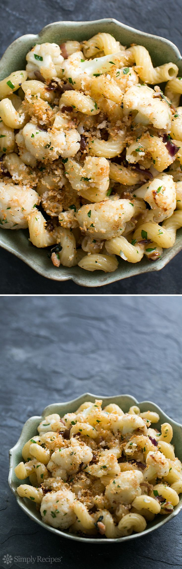 Cauliflower Pasta with Bacon and Parmesan ~ Sautéed cauliflower, onions, and bacon, tossed with pasta, Parmesan and toasted panko. So good! ~ SimplyRecipes.com