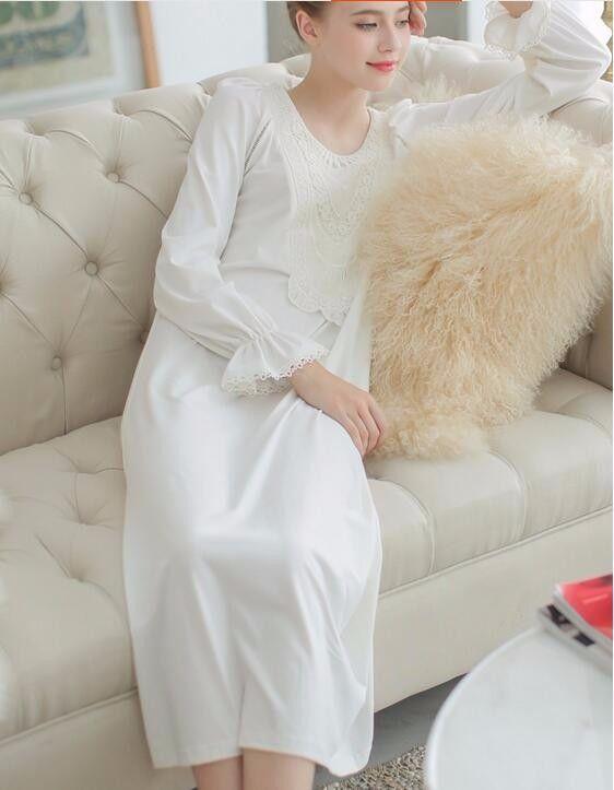 Aliexpress.com : Freies Verschiffen 2016 Neue Herbst Prinzessin Nachthemd frauen Weiß Pijamas Lange Nachthemden Damen Vintage Nachthemd Spitze Nachtwäsche von verlässlichen nachtwäsche stoff-Lieferanten auf PRINCESS COLLECTION kaufen