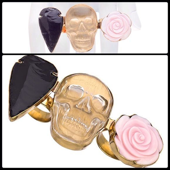 KESHA ROSE X CHARLES ALBERT ☠ 3-Finger Ring NWOT This attention getting gold and multi-stone three knuckle ring from Kesha Rose by Charles Albert was designed by the artist and celebrity Ke$ha and represents her diverse and iconic appeal. A smiling, crystal clear skull is flanked by an obsidian arrowhead and a delicately crafted pink rose - all set in a background of gleaming gold.  Ring is adjustable for the perfect fit. NWOT   Metal: Gold plated  Stone: Resin, obsidian Length: 3 5/8 inches…