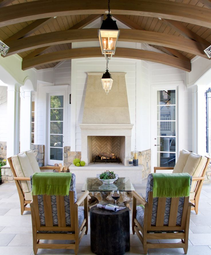 169 best outdoor living images on pinterest balconies - Outdoor living spaces with fireplace ...