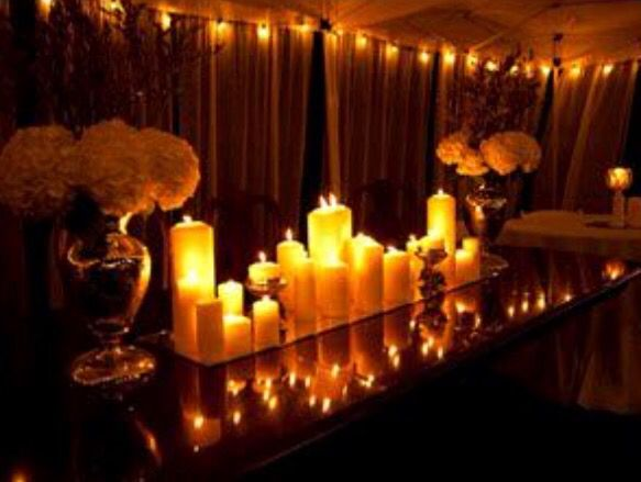 Escort Table OR Centerpiece Inspiration: Pillar Candles/Mirror/Hydrangeas (Or other affordable floral) in gold vases.