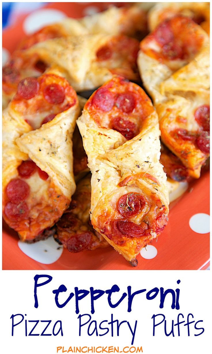 Pepperoni Pizza Pastry Puffs - two bite pizza! Only 5 ingredients and ready in 15 minutes! Perfect for parties and tailgating. We also like to eat these for a quick lunch. Whenever I take these to a party, there are never any left!! Can assemble and freeze for later.