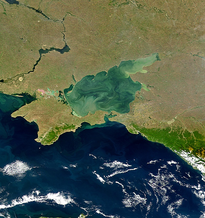 The Sea of Azov is the shallowest sea in the world, reaching maximum depths of just 14 metres. The warm, nutrient-rich water is full of algae. In the summer, brightly coloured swirls of green algal blooms can be seen from space.