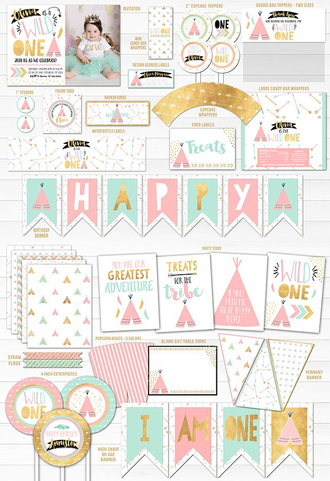 Printable Girls Wild One Birthday Party Package Decorations | Tribal Teepee | Pink, Gold and Mint 1st Birthday Invitation | Cupcake Toppers | Favor Tag | Banner | Photo Props | Food Label | Signs | Party Decor