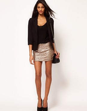 New Years Eve - Enlarge ASOS Mini Skirt in All Over Sequins