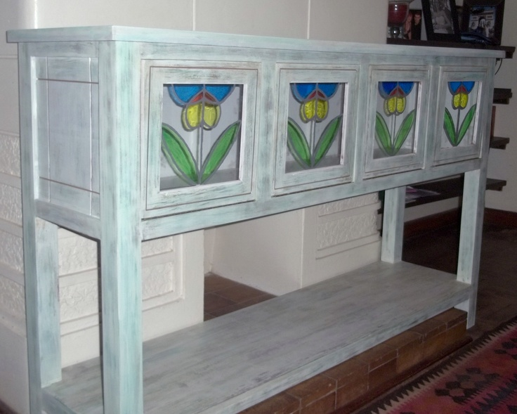 White washed display cabinet with stained glass.   Height: 1 000mm  Length: 1 500mm  Depth: 400mm    Price:  R 3 450.00 (ZAR)