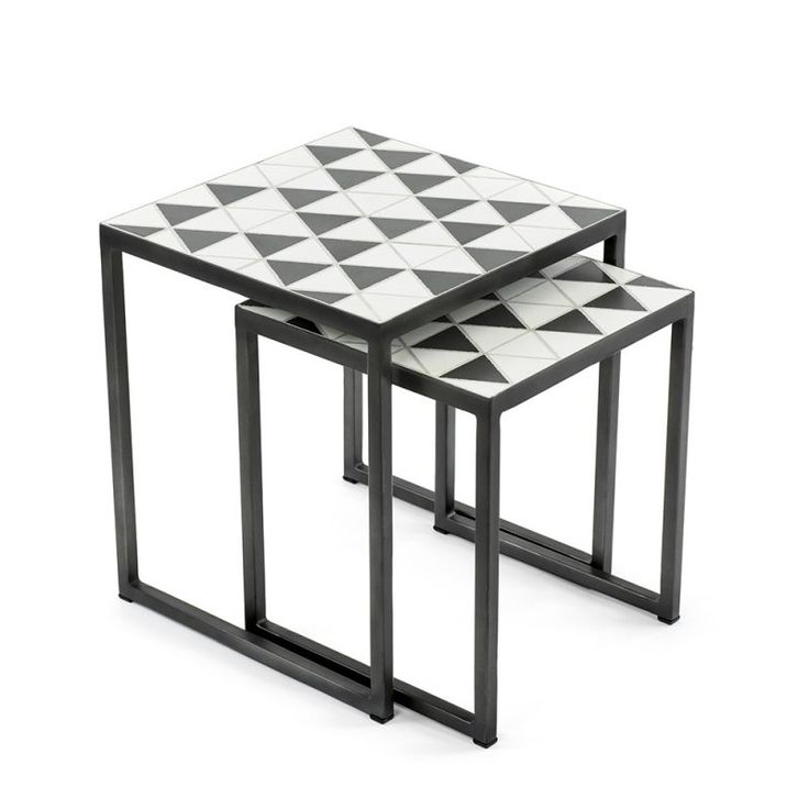 Beautiful Mosaic Cement Tiles Monochrome FSC TImber Homweares Side Tables, Decor,  Designer Mosaic, Contemporary
