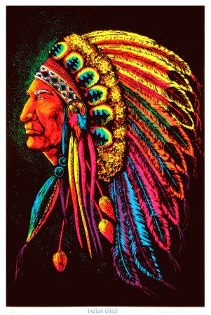 """Indian Chief"" black-light poster - You can find all your smoking accessories right here on Santa Monica #Blacklight #Teagardins #SmokeShop"