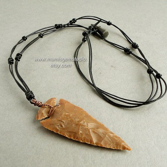 Hand Knapped Jasper Stone Large Arrowhead Braided Leather Long Necklace for Men 32in, Tribal, Light Brown by mamisgemstudio, $32.95
