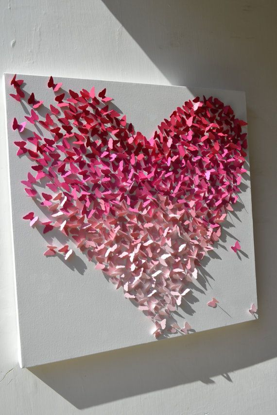 Pink Ombre Butterfly Heart/ 3D Butterfly Wall Art / by RonandNoy, $185.00