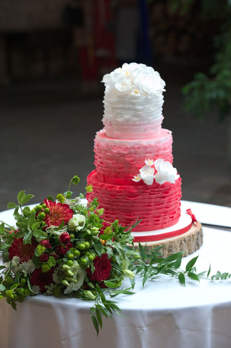 Ombre Ruffles and Sugar Rose Wedding Cake