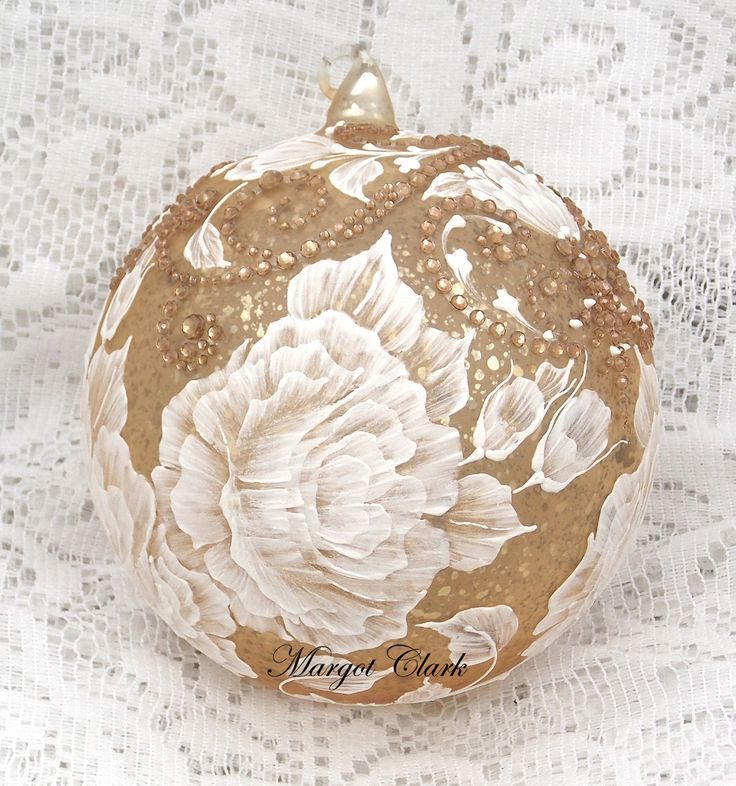 Soft Gold Texture Design Ornament with Bling (XLG) 483 by MargotTheMUDLady on Etsy