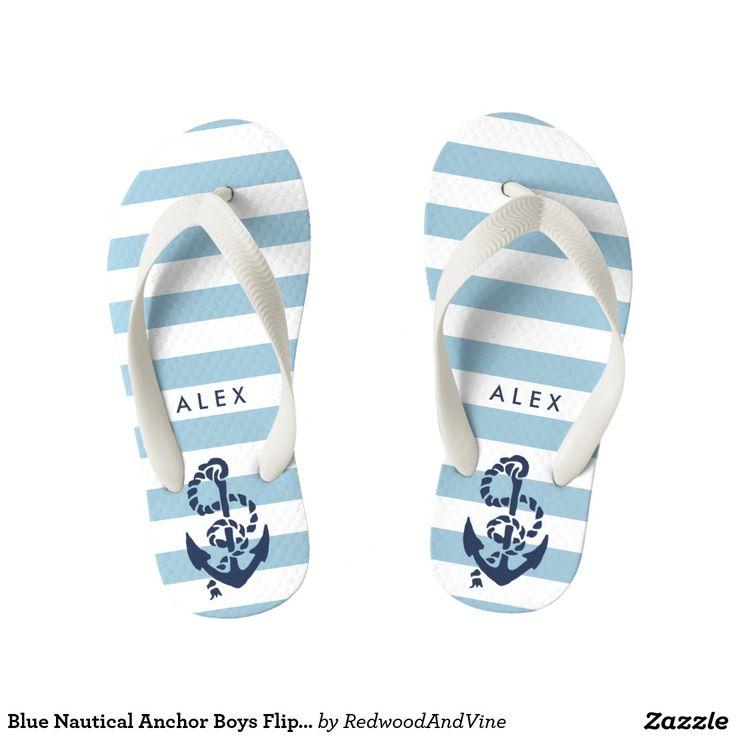 Blue Nautical Anchor Boys Flip Flops - Beach Personalized Sandals