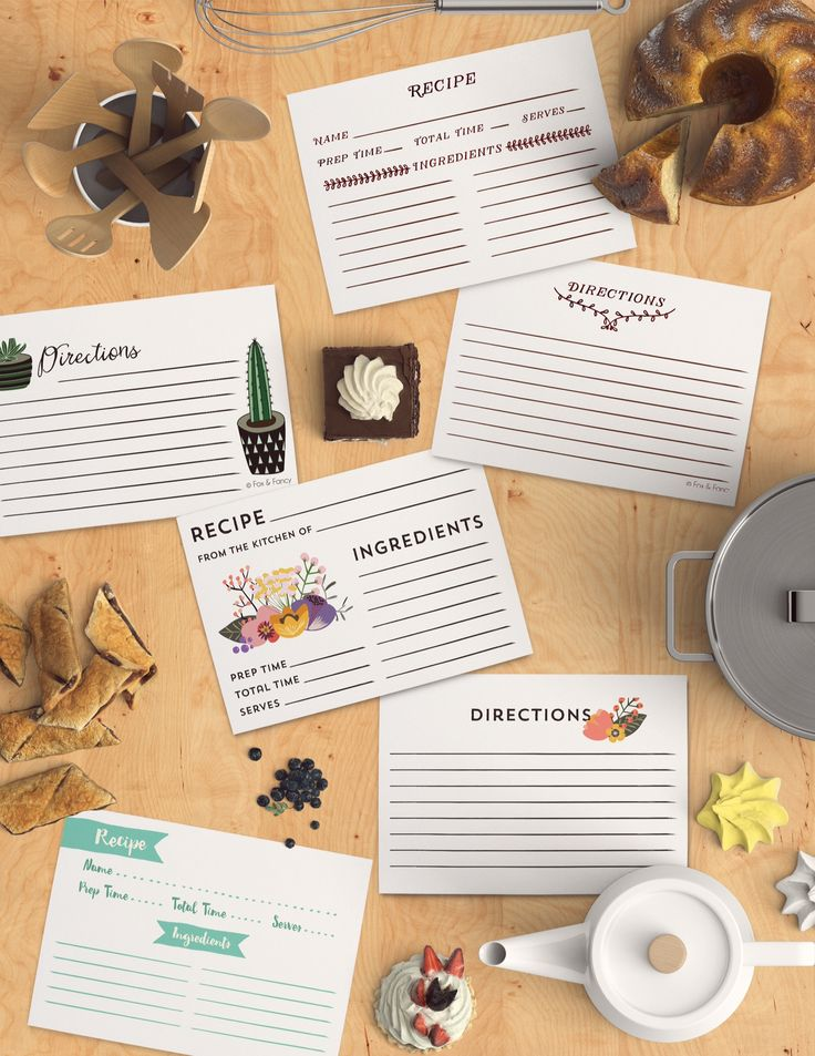 An assortment of recipe cards! Available online at www.foxandfancy.com and Etsy, by @foxandfancy