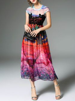 Multicolor Abstract Crew Neck Short Sleeve Midi Dress