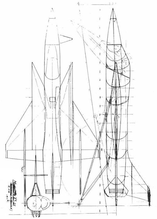 "the Messerschmitt Me X1-21 tailsitter concept - designed to meet the requirements of West Germany's Bundesministerium der Verteidigung (BMVg, ""Ministry of Defense"") for a high-altitude supersonic fighter-interceptor in 1957.     (via, other concepts can be viewed via the AIAA V/STOL archives)"
