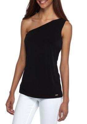 Calvin Klein Women's One Shoulder Top - Black - Xs