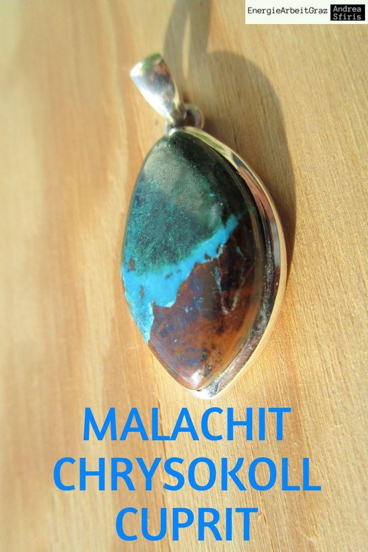 Chrysokoll mit Malachit Edelstein-Anhänger mit Silberfassung Kettenanhänger