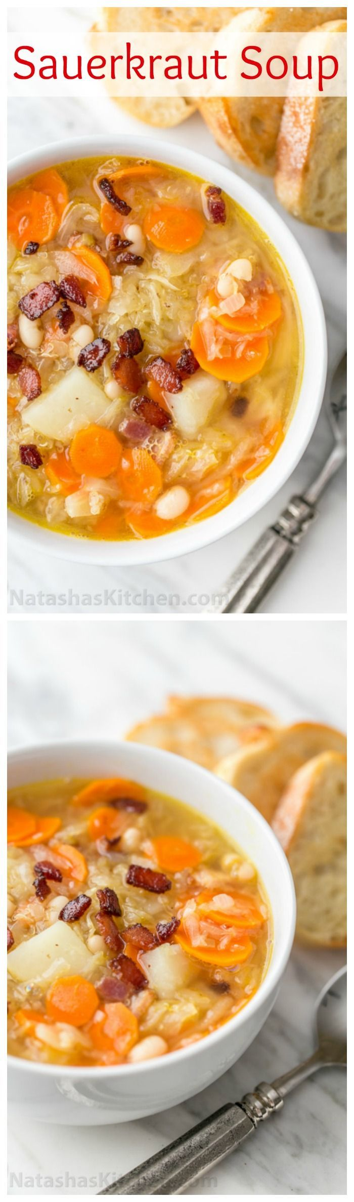 This sauerkraut soup is a most unusual and delicious soup. The sauerkraut gives it a lovely texture and zing. It's hearty, filling and will warm your belly | http://natashaskitchen.com