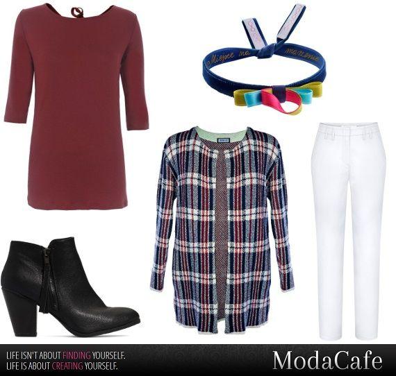 Stylizacje: białe spodnie w zimowym wydaniu.  Zestaw codzienny, zwany zwyklakiem. Koło ratunkowe, dopełnione kratą i ciekawym dodatkiem. Każdą sytuację ubraniowo-kryzysową da się uratować.  Więcej na Moda Cafe!