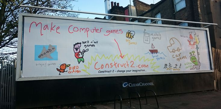 The billboard is 36m2 and advertises game development software.