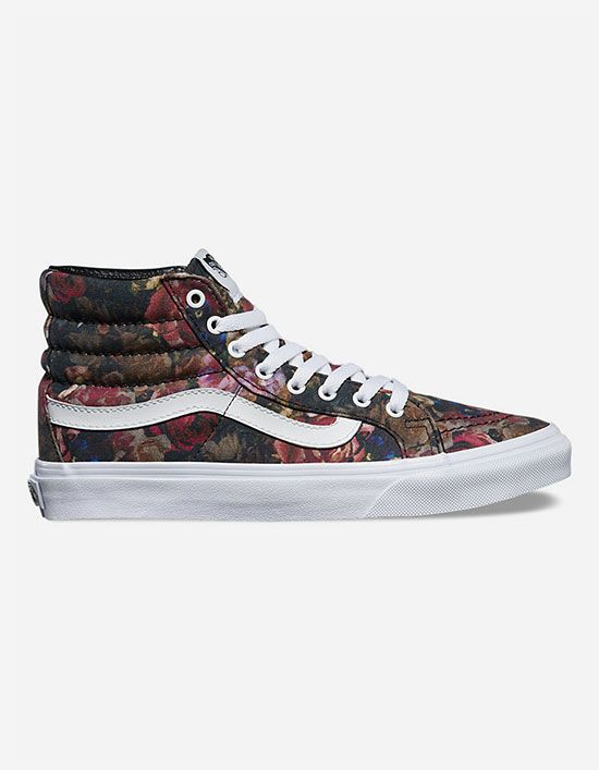 The Moody Floral Slim, a slimmed down version of the legendary Vans lace-up  high top, features textile uppers with an allover floral print, padded  collars ...