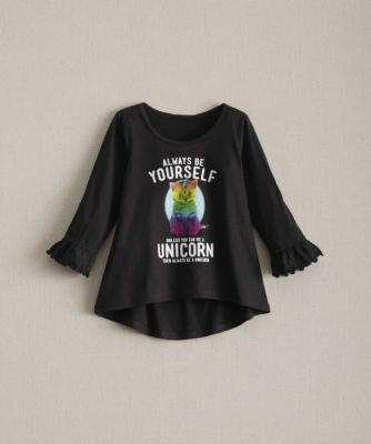 """Girls Personalized Unicorn Cat Top - exclusively ours - Because really, who doesn't want to be a unicorn? This soft, ruffly top has the fun """"disclaimer,"""" blue-eyed uni-cat and your girl's name on the back. Machine Wash."""