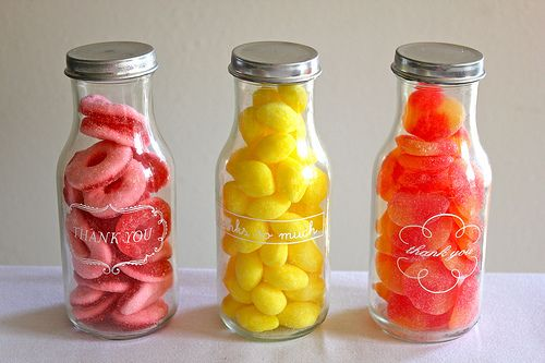 """I love this idea:   1.) drink a bottle of Frappuccino  2.) spray paint the lid  3.) apply """"thank you"""" Martha Stewart label stickers  4.) fill with candy for party favors, or  5.) re-use the Frapp bottles as beverage glasses"""