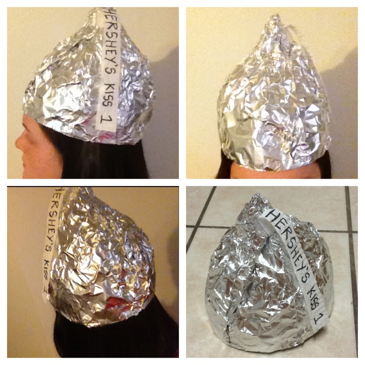 Hershey's tin foil hat. Take a sheet of foil (Big enough to wrap around your head), Fold It in half. Then tape ends together. Get another piece of foil the same size as the first (you don't have to fold it this time). Wrap it around like the first time but higher. Keep wrapping your head until you think there's enough foil. Shape foil to look like a Hershey's kiss.