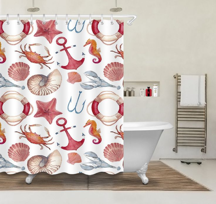 "Merry Christmas Starfish Shell Waterproof Fabric Bath Shower Curtain Hook 72X72"""