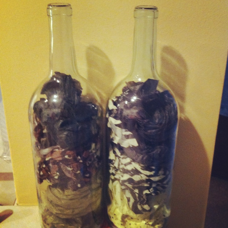 Wine bottle tissue paper craft diy diy pinterest for Diy wine bottle crafts pinterest
