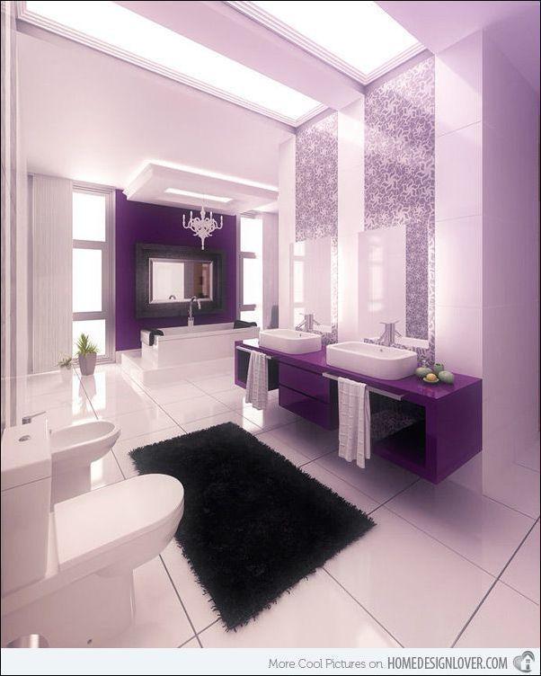 Black White Purple Bathroom Bathroomdesign3dsmax Luxurybathroomsuitessale Beautiful Bathroom Designs Bathroom Interior Design Purple Bathrooms