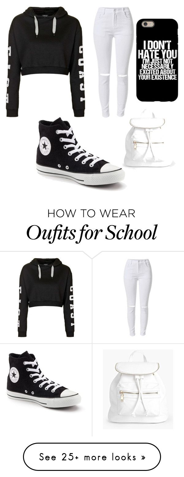 """School Appropriate"" by kidinlove on Polyvore featuring Converse, Topshop and Boohoo"