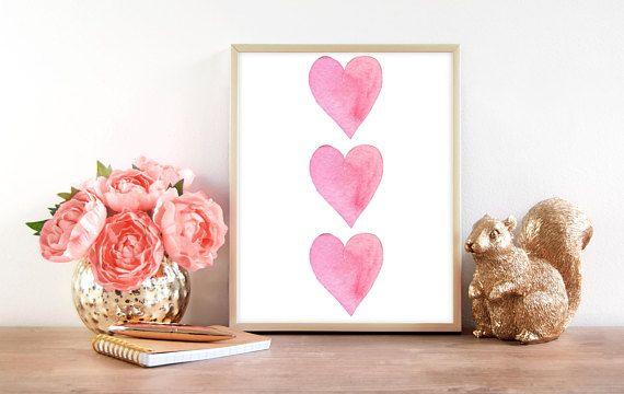 Boho Girl Nursery  Pink Hearts Wall Art  Bohemian Love