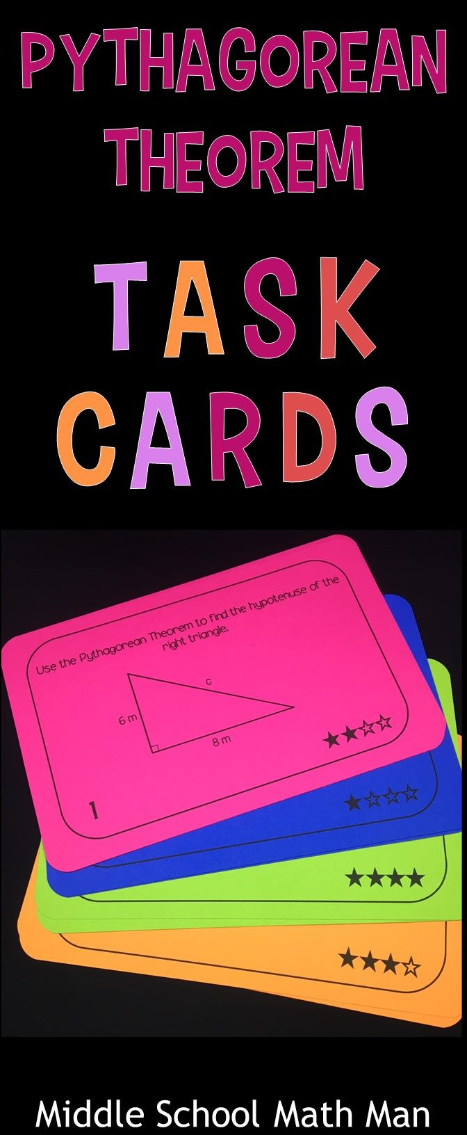 This set of Pythagorean Theorem Task Cards includes 52 different task cards that require students to use the Pythagorean Theorem to determine if a triangle is a right triangle as well as find the missing side lengths of triangles. The cards include four different difficulty levels, marked by the number of stars on the task card.