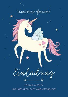 Unicorns forever! Tolle Einladungskarte zum Kindergeburtstag mit verträumtem Einhorn