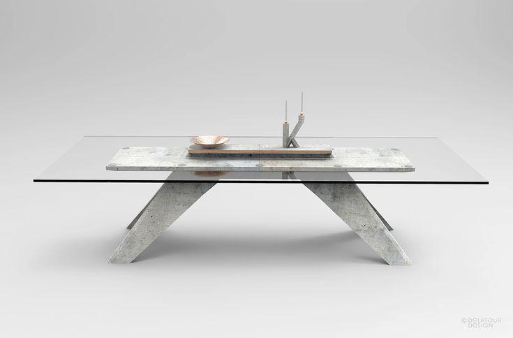 Table Béton profil by Jimmy Delatour. Concrete table. www.delatourdesignlab.com Furniture design, design de mobilier.