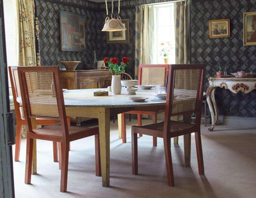 The dining room at Charleston, the country home of the Bloomsbury Group in Sussex, England.